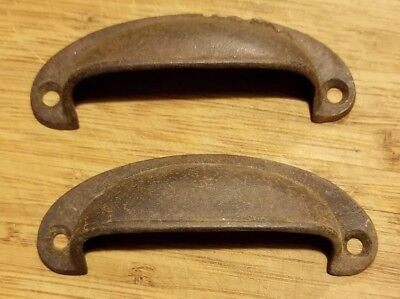 PAIR Old Antique Rustic Drawer Bin Pulls Old Vintage Cottage Cast Iron Handles