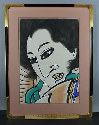 Large Antique Japanese Watercolor Painting of Kabuki Actor, NR