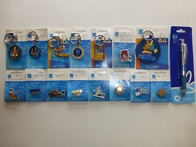 2004 ATHENS OLYMPICS - 9 x PINS & 6 x KEY-CHAINS & 1 x PEN - OFFICIALLY LICENSED