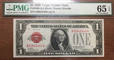 PMG GEM Uncirculated 65 EPQ $1 1928 Funnyback Legal Tender Note Red Seal Fr.1500