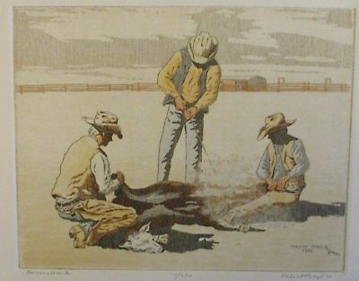 """PHLEAT BOYD Limited Edition Etching Western Art """"Owners Mark"""""""