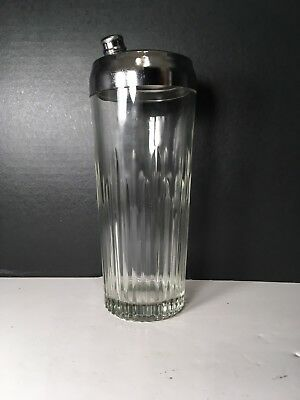 Vintage Indiana Glass Ribbed Cocktail Shaker - The Cocktailor, tall heavy glass