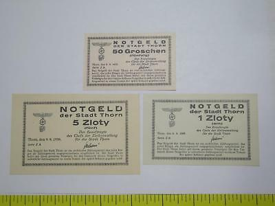 Poland City Of Thorn 1939 5 1 Zloty 50 Groschen Occupation Notgeld Banknote Lot