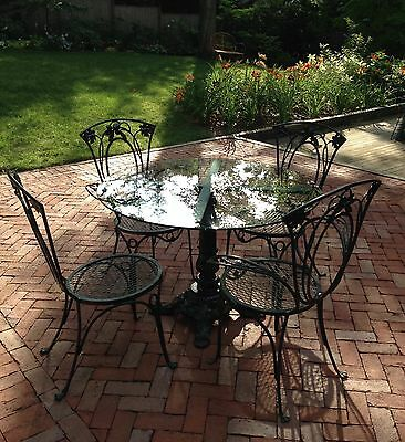 Vintage 5 Pc Patio Dining Set Round Table, 2 Arm, 2 Side Chairs Salterini, Nice!