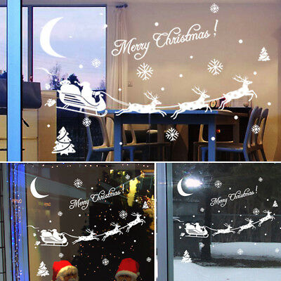 Christmas Window Wall Glass Stickers Decal Snowman Removable Home Room Decor