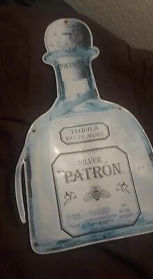 Metal Patron Silver Tequila Sign Rare Man cave Tin Authentic used Bar Ad