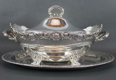 Large Antique MERIDEN Silverplate Soup Covered Tureen & Under Plate, Serving, NR