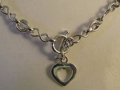 """Double Link Sterling Silver Necklace with Heart Toggle Clasp - 17"""" L - 8mm #N23"""