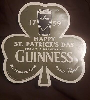 TWO Guinness Shamrock Paper Bar Signs Used Beer Ad Man Cave Holiday Gift