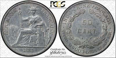 French Indo China 1885 A 50 Cent Pcgs Au-Details Graded Coin Rrr<Omg Collection>