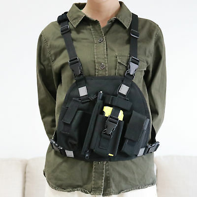 Reflective Chest Harness Chest Pack Pouch Holster Vest Rig For Portable Radio