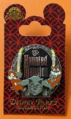 Disney Pin Haunted Mansion 3D Slider Chip & Dale on Gargoyle holding Candles