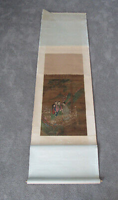 Old Chinese scroll painting on silk of a gathering on a bridge