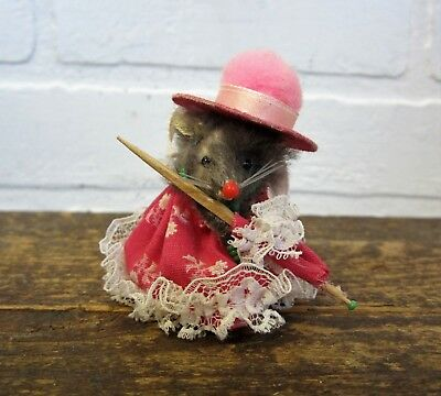 "Vintage 2.5"" Mouse Factory Original Fur Toys Made in West Germany Parasol Dress"