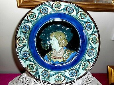 European Majolica pottery large wall plate with face.