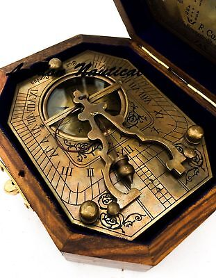 Solid Brass Compass Pendulum Sundial Compass WITH WOODEN BOX