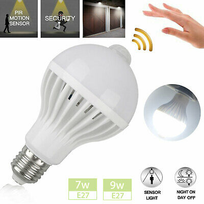 PIR Motion Sensor E27 7W 9W LED Lamp Bulb Body Infrared Auto Energy Saving Light