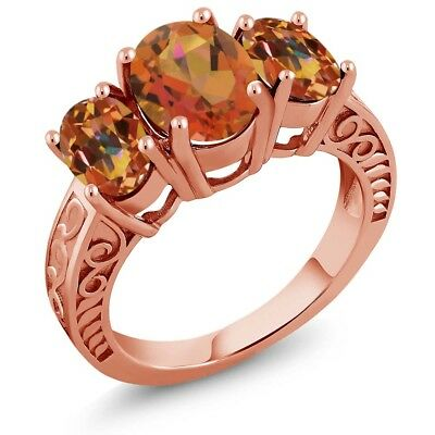 3.40 Ct Mystic Quartz Mystic Topaz 18K Rose Gold Plated Silver Ring