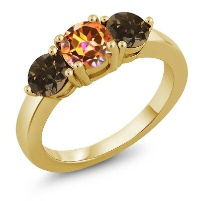 1.87 Ct Mystic Topaz Smoky Quartz 18K Yellow Gold Plated Silver Ring