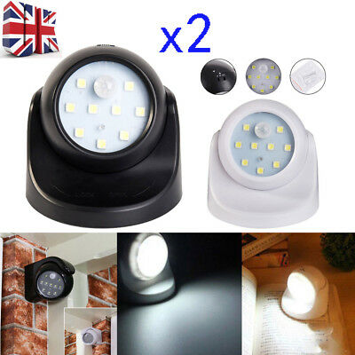 2x 360° Battery Operated Indoor Outdoor Garden Motion Sensor Security LED Light