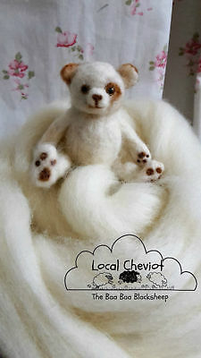100% British Cheviot Natural White 100g Wool Roving / Felting, needle felting
