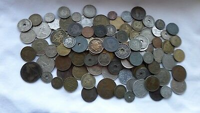 Job Lot Collection Of Mixed World Coins & Tokens Poorer Quality/scrap As Seen