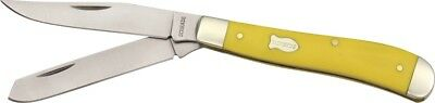 Schrade Old Timer Yellow Delrin Handle Trapper Folding Pocket Knife 94OTY