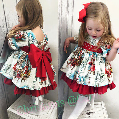 USA Christmas Toddler Kid Baby Girl Xmas Festival Flared Party Santa Swing Dress