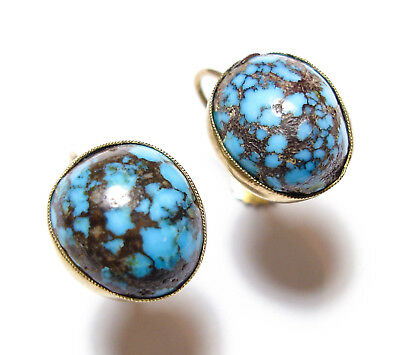 Beautiful Antique Victorian / Edwardian 9Ct Rose Gold & Turquoise Earrings (B11)