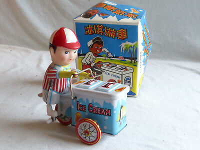 Red China MS 405 Ice Cream Vendor Blech Spielzeug Tin Toy 80er Jahre in Box 10cm