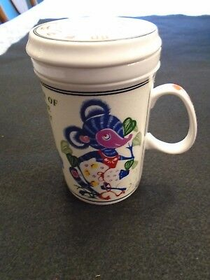 """Chinese Zodiac """"Year Of The Rat"""" Tea Mug Cup With Infuser And Lid"""
