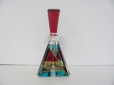 Perfume Bottle  Murano Italy Hand Painted Aqua, Red, Gold Gilt
