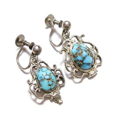 Pair Of Beautiful Antique Silver Turquoise Pendant Earrings Arts & Crafts (B26)