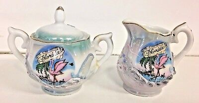 Vintage Florida Dragonware Creamer Sugar Set Souvenir Mini Flamingo Light Blue