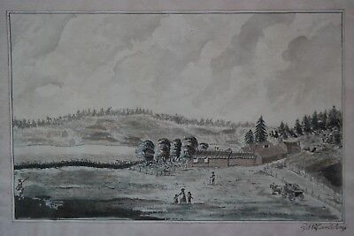 Americana. Rare early Northamerican watercolor drawing, sign. Garleson, ca. 1760