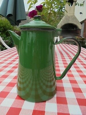 Emerald green ENAMEL COFFEE POT or teapot or jug, retro enamelware from France