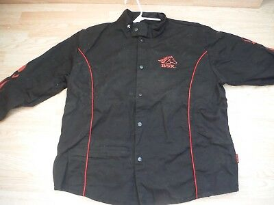 XL BSX Flame-Resistant Welding Jacket - Black with Red Flames, Size XL