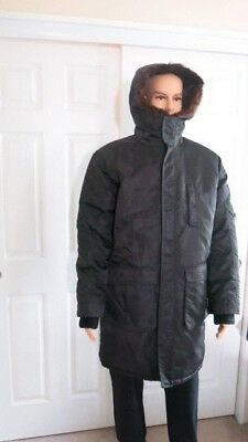 Ermanno Scervino Black Parka Fur lined and Down Filled. Size L  Made in Italy