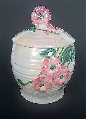 Maling Ware pottery ribbed lustre pink blossom sugar jam or preserve pot & lid