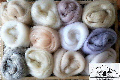 100g Wool Roving  / Merino, Corriedale British, Natural, Needle felting