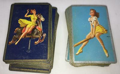 Vtg Pinup Girl Playing Cards Seasaw Hobby Horse Carnival Wbox Ww Ii Vargas Style