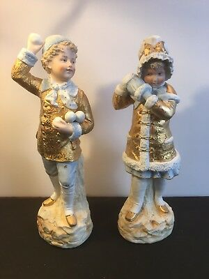 Vintage Antique Pair German Porcelain Bisque Figurines Lots Of Gold Exquisite