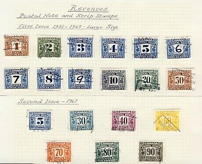 19x Canada Used Postal Note-Scrip Stamps 1st iss & 2nd issue Cat. Value=  $86.00