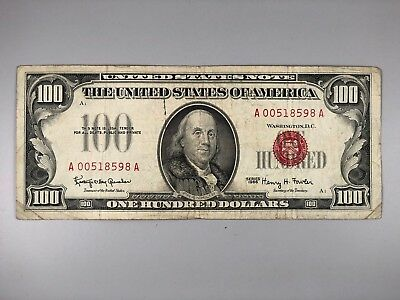 1966 $100 One Hundred Red Seal Legal Tender United States Note