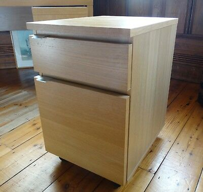 Two Drawer Oak Laminate Pedestal on Castors