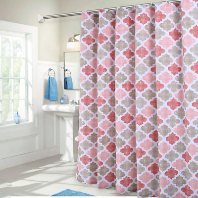 Shower Curtain, Moroccan Tile Pattern Heavy Textured Fabric Bathroom