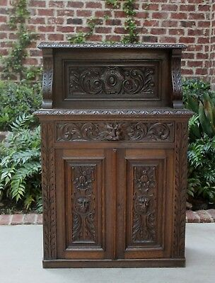 Antique French Oak GOTHIC Small Cabinet Buffet Sideboard Server Bar w Drawer