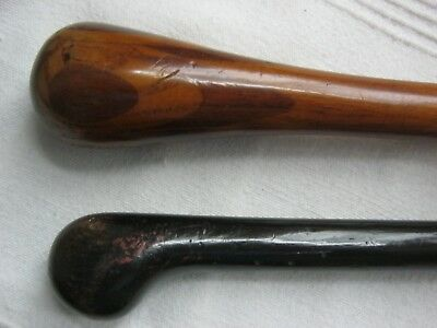 2 attractive antique walking canes/sticks - Ebony and marquetry inlaid pommel