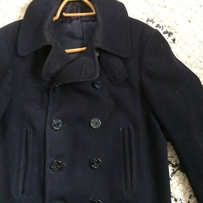 Vintage 1940s WW2 USN NAVAL CLOTHING PEACOAT 40-42 10 Button Well Worn