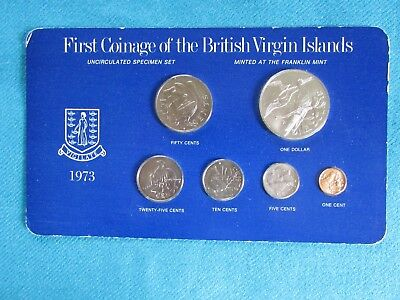 1973 British Virgin Islands Proof Set First Year Coinage - 6 Coins-Franklin Mint